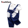 Baby Clothing Set Infant Soft Solid Belt Pants Short Sleeve Tie T-shirts Glove Pocket Trousers Casual Toddler Clothes