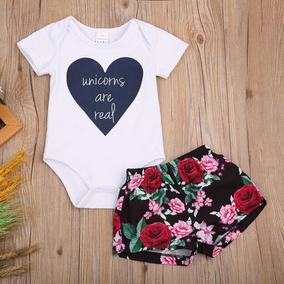 2pcs Cute Toddler Baby Girls Clothing Set Outfits Cotton Short Sleeve Romper +Floral Shorts 2Pcs Set 0-3T
