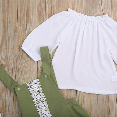 2Pcs Baby Boys Girls Army green Romper Long Sleeve T Shirt + Lace Romper Kids Tracksuit Outfits