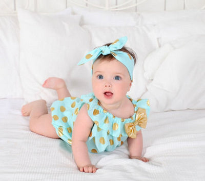 Baby girls baby dress Birthday romper Baby Romper Bubble Polka Dots Romper Girls outfit Polka Romper With headband