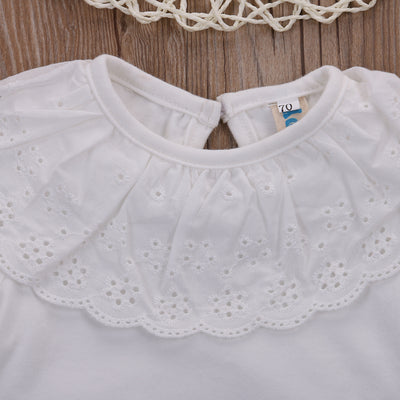 0-18 Month Baby Summer Cotton Rompers Infant Toddler Jumpsuit Lace Collar Short Sleeve Baby Girl Clothing