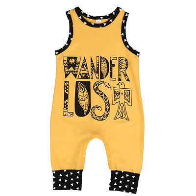 Newborn Baby Yellow Romper Summer Sleeveless Cotton Rompers Jumpsuit Outfit Toddler Kids Casual Suit 0-18M