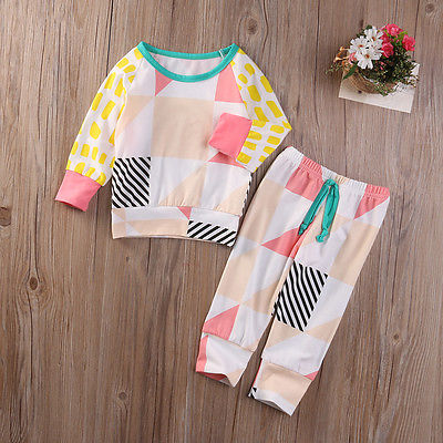 Newborn Infant Baby Boys Girls T-shirt Tops +Long Pants Outfits Clothes