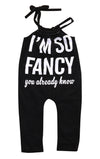 I'M so Fancy born Baby Girls Sleeveless Spaghetti straps Romper Jumpsuit Outfits Clothes 0-18 M