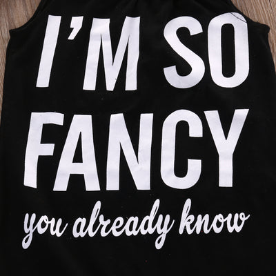 I'M so Fancy Newborn Baby Girls Sleeveless Spaghetti straps Romper Jumpsuit Outfits Clothes 0-18 M