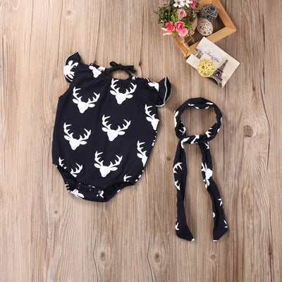 2PCS Suit Newborn Toddler Baby Girl Clothes Sleeve Deer Romper Outfits Set +Headband Baby Girls Boys Clothing Sets