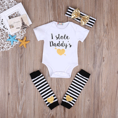 3Pcs baby girls clothes Casual Clothing Sets Cotton Newborn Baby Girl Romper Jumpsuit +headband +warm legging Outfits Clothes