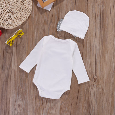 Baby Girls clothing sets Sequins Infant Newborn Baby Girls Romper+Hat Jumpsuit Clothes Outfit Set