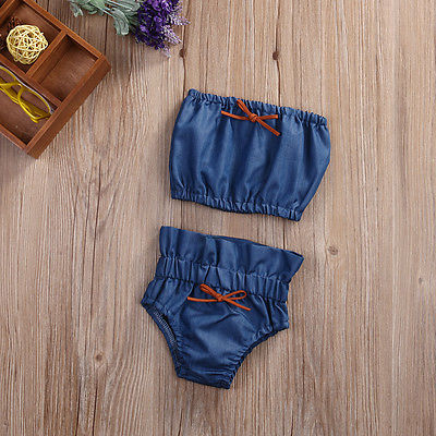 Baby girls Casual Clothing Sets Newborn Kids Baby Girl denim Infant Tank Tops+Pants Set Toddler Sun suit Outfits