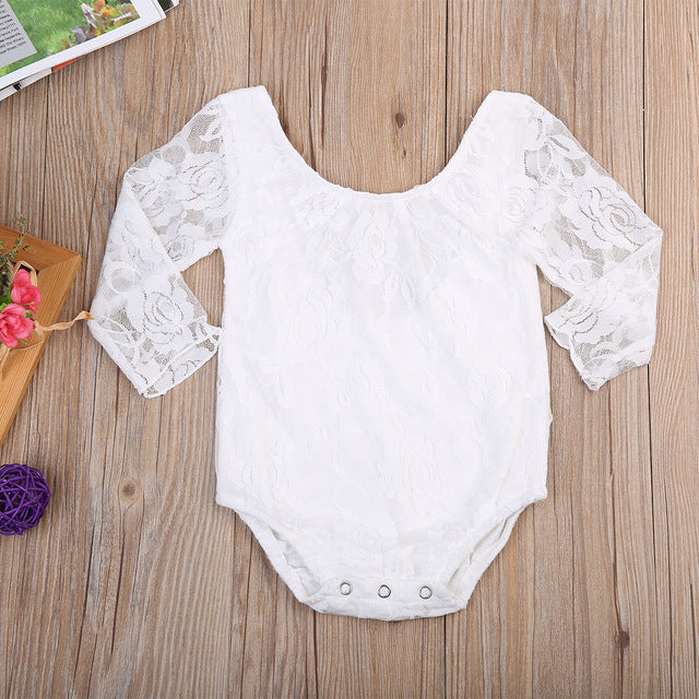 e6ccb432e08b3 Newborn Lace Long Sleeve Baby Girl Romper - FirstLook