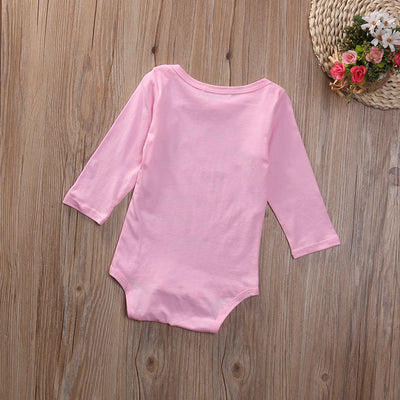 Newborn Infant Baby Boy Girl Kids Cotton Long Sleeve Pink Romper Jumpsuit Clothes Outfit