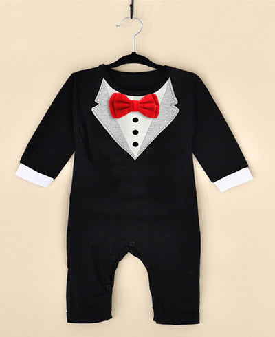 Newborn Infant Baby Boy Girl Romper Clothes Long Sleeve Gentleman Bow Tie Toddle Kids Tracksuit
