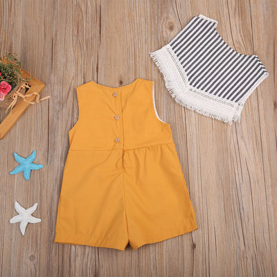 2pcs/Set Newborn Toddler Baby Girl Clothes Pure Yellow Sleeveless Romper +Striped Tassel Bib Outfits Sun-suit Clothing