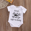 Newborn Baby Boys Girls Skull Short Sleeve Romper Cotton Outfits Clothes