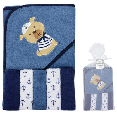 Fashion Style 6 Pcs/Set Baby Bath Towel & 5 Pieces Baby Wash Towel Cute Ship Pattern Bathrobe 76*76 cm Bath & Shower Product