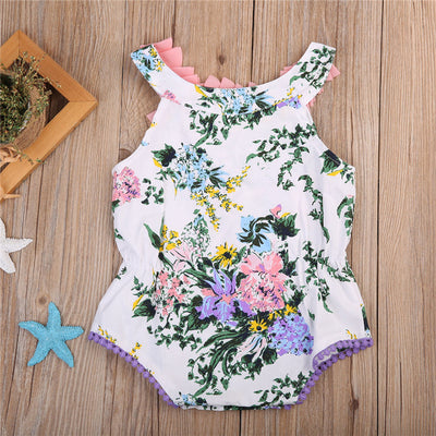 Summer Newborn Baby Girls Flower lace collar Romper Tassel Ball Jumpsuit Outfits Sunsuit Clothes 0-24M