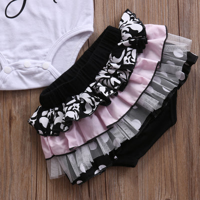 Newborn Infant Baby Girls Letter Printed Romper Jumpsuit +Lace Tutu Shorts Summer Outfits 2pcs