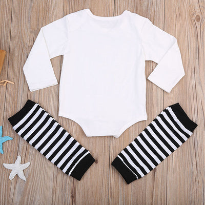 Spring Autumn Newborn Baby Boys Cotton gentleman Romper Tops+Striped Warm Leggings Outfits Set