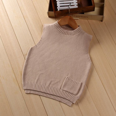 Children's Sweater Vest Casual Spring Baby boys and Girls Fashion Sleeveless Woolen Solid Pullovers Kids