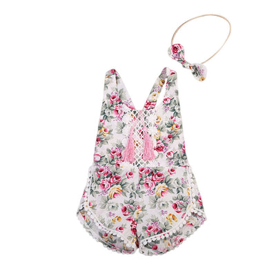 2Pcs Newborn Baby Girls Clothes Set Floral Outfits Lace Tassel Jumpsuit Romper Playsuit Headband
