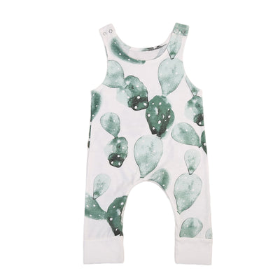 Summer New Infant Baby Girl Boy Cactus Printed Romper Sleeveless Jumpsuit Playsuit Outfit