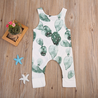 Summer New Infant Baby Girl Boy Cactus Printed Romper Sleeveless Jumpsuit Playsuits Outfit