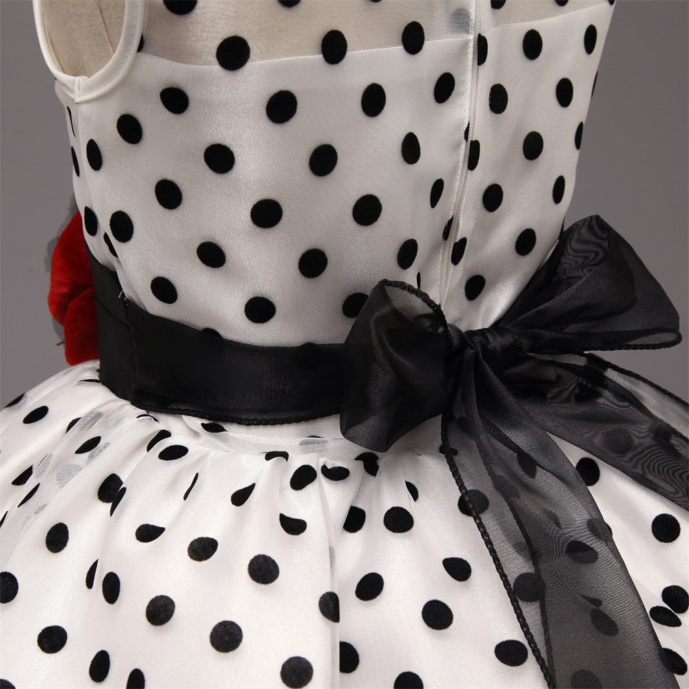 Girl Dress Polka Dots Flower Formal Dresses For Girls Princess Tutu