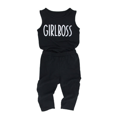 Toddler Kids Baby Girls Outfits Clothes Sleeveless Tops Capri Leggings Set Black Color Letter Printed Children Clothing