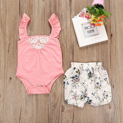 Baby Girls Summer Clothes Pink Romper Floral Pants Outfits Clothes Set
