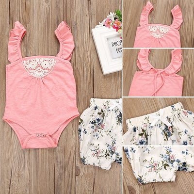 2PCS Toddler Baby Girls Summer Clothes Pink Romper Sunsuit+Floral Pants Outfits Clothes Set 0-24 M