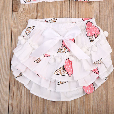 Newborn Baby Girls Lace Ruffle Ice cream Shorts Pants Nappy Diaper Cover Bloomers Panties With Headband