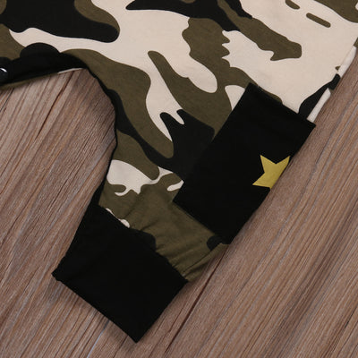 Cotton Newborn Infant Baby Girl Boy Romper Sleeveless Camouflage Jumpsuit Clothes Outfits