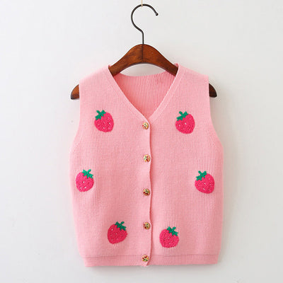 Girls Sweaters New Girls Clothing Sleeveless Outerwear Cute Strawberry Appliques Knitwear Vest