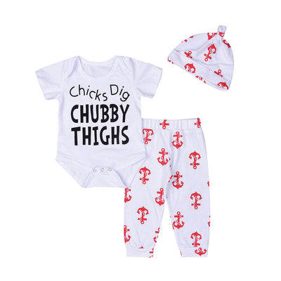 3PCs Newborn Baby Boy Girls Clothing Set Cotton Anchor Romper Top + Pants +Hat Outfits Clothes Set