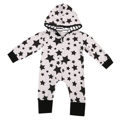 Newborn Star Pattern Baby Boy Girl Zipper  Romper Long Sleeve Star Jumpsuit Clothes Outfits