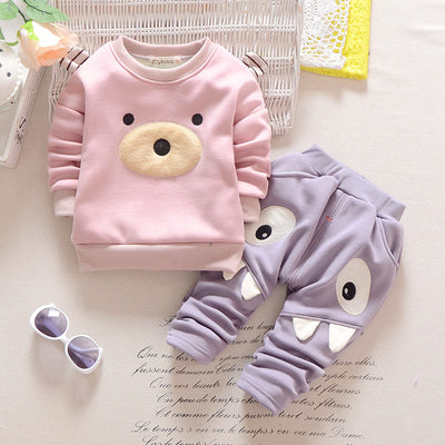 Baby Boys Girl Clothes Autumn Baby Clothing Sets Cartoon Thick Warm Sweatshirts Casual Pants 2 PCs for Baby Clothes
