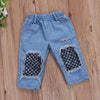Kids Girls Clothing Set Off Shoulder Tops Net socks Denim Pants Jeans Outfits Set Clothes