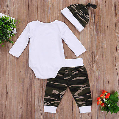 Spring Autumn 3Pcs Newborn Baby Boys Little Man Long Sleeve Romper + Camouflage Pants Hat Outfits Set Clothes