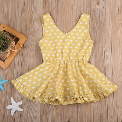 New Toddler Kids Baby Girl Floral Polka Dot Tutu Summer Sleeveless Tutu Party Dress Sundress Clothes