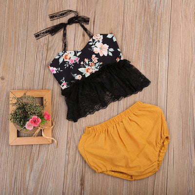 Newborn Baby Girl Set Backless Lace Halter Floral Tops + Triangle shorts Outfit Clothes 2Pcs Sunsuit Clothing