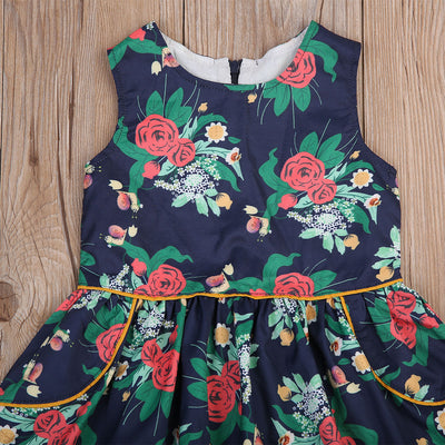Retro Kids Baby Girl Summer Floral Sleeveless Dress Princess Birthday Party Pageant Dresses