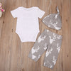 born Baby Boy Girls Tops Letter Printed Romper+Deer Pants Hat 3pcs Outfits Clothes Set