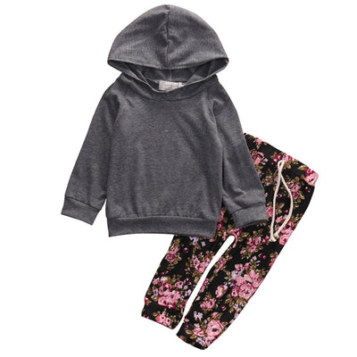 Newborn Baby Girl Boy Clothes Floral Long Sleeve Hooded Tops  + Pants Casual Outfits Set