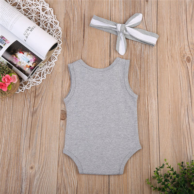 Sleeveless Infant Baby Boys Girls Cotton Letter Printed Romper Jumpsuit +Headband Outfits 2pcs