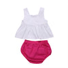 Summer Newborn Cotton Girls Baby Kids Sleeveless White Tank Top +Rose Triangle shorts Summer Outfits Sunsuit Clothes