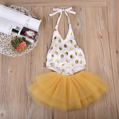 Newborn Baby Girls Clothing Polka Dot Romper +Tutu Lace Skirt Tulle Party Dresses Outfits Clothes