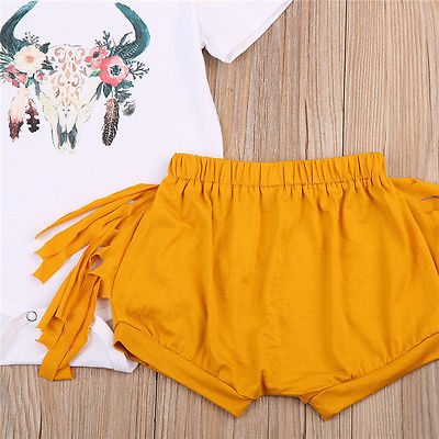 Newborn Baby Girls Deer Tops Short Sleeve Romper +Tassels Pants Shorts Outfits Clothes 0-24M Sunsuit Clothing