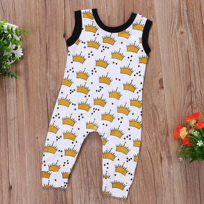 Cute Baby Boys Girls Sleeveless Crown Romper Jumpsuit Outfit Clothes
