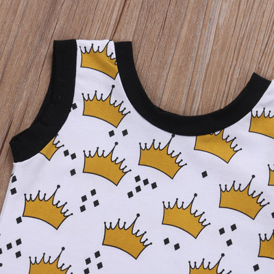 Summer Cute Toddler Baby Boys Girls Sleeveless Crown Romper Jumpsuit Playsuit Outfit Clothes