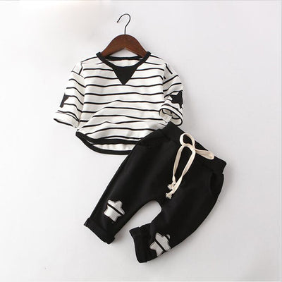 Baby Boys Clothing Set Spring Autumn Kids Casual Clothes Suit Pullover Striped Sports Suit for Children Tracksuit Set
